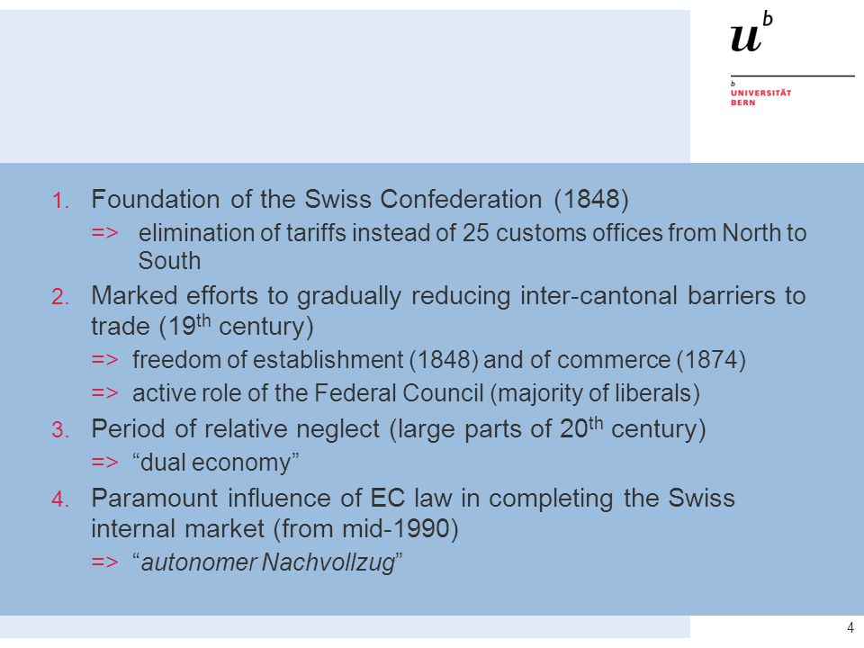 4 1. Foundation of the Swiss Confederation (1848) => elimination of tariffs instead of 25 customs offices from North to South 2. Marked efforts to gra