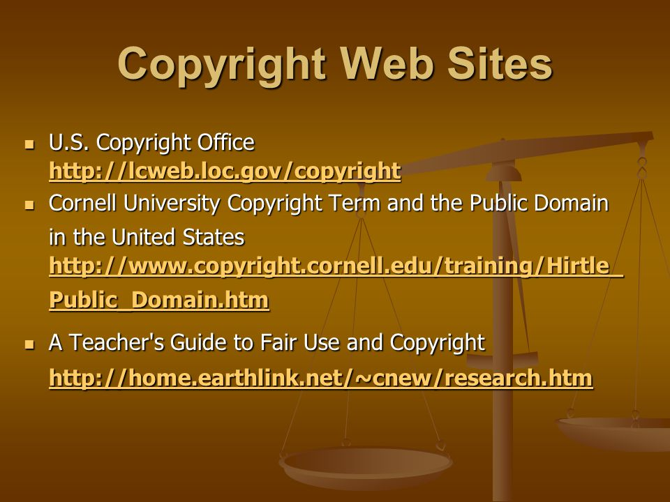 Copyright Web Sites U.S. Copyright Office http://lcweb.loc.gov/copyright U.S. Copyright Office http://lcweb.loc.gov/copyright http://lcweb.loc.gov/cop