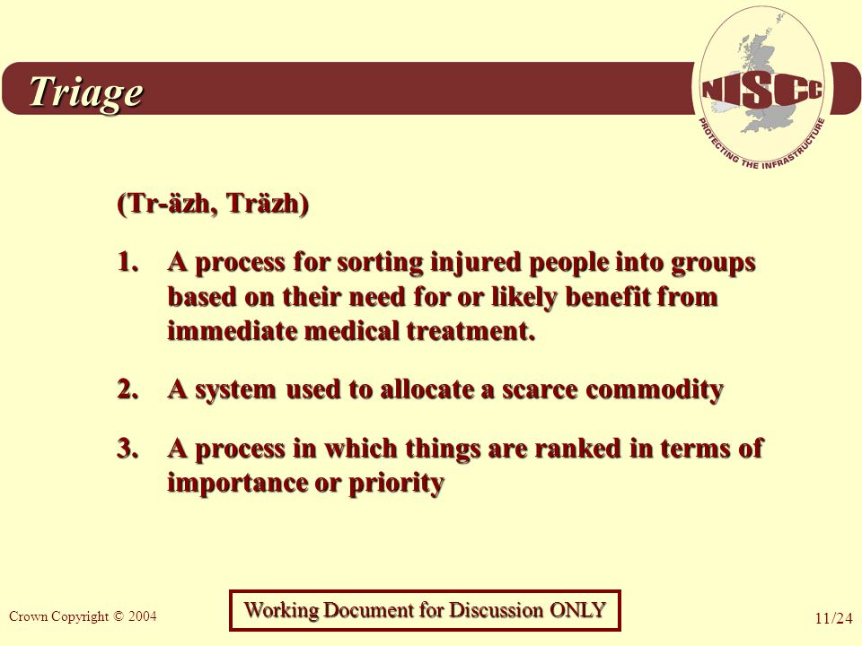 Working Document for Discussion ONLY Crown Copyright © 2004 11/24 Triage (Tr-äzh, Träzh) 1.A process for sorting injured people into groups based on their need for or likely benefit from immediate medical treatment.
