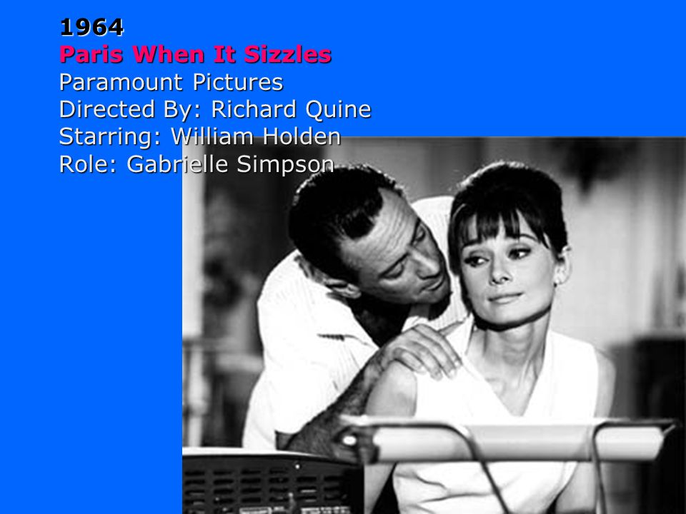 1963 Charade Universal Studios Directed By: Stanley Donen Starring: Cary Grant Walter Matthau James Coburn Role: Regina Lambert