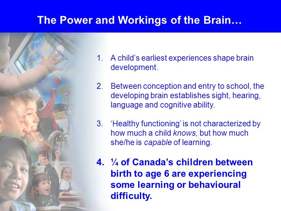 1.A child's earliest experiences shape brain development.