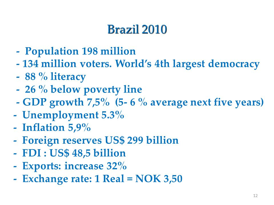 12 Brazil 2010 - Population 198 million - 134 million voters.