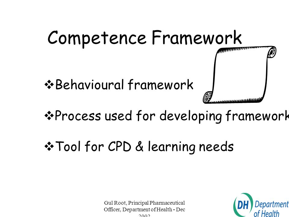 Gul Root, Principal Pharmaceutical Officer, Department of Health - Dec 2002 10 Competence Framework  Behavioural framework  Process used for develop