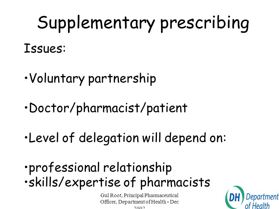 Gul Root, Principal Pharmaceutical Officer, Department of Health - Dec 2002 17 Threat Nothing new so why bother.