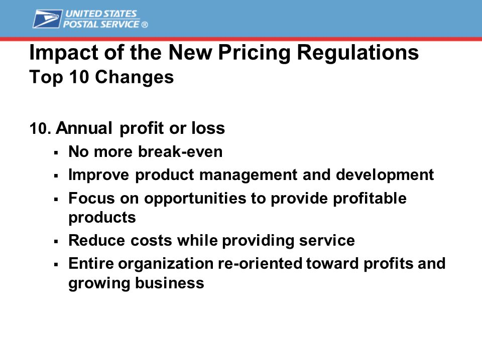 Impact of the New Pricing Regulations Top 10 Changes 10.