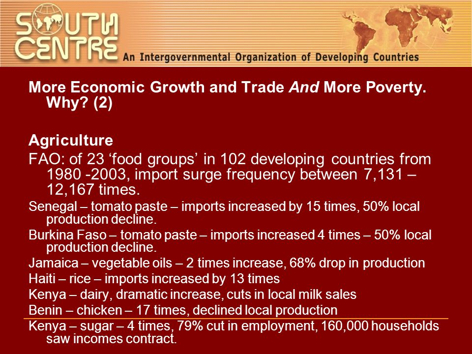 More Economic Growth and Trade And More Poverty. Why.