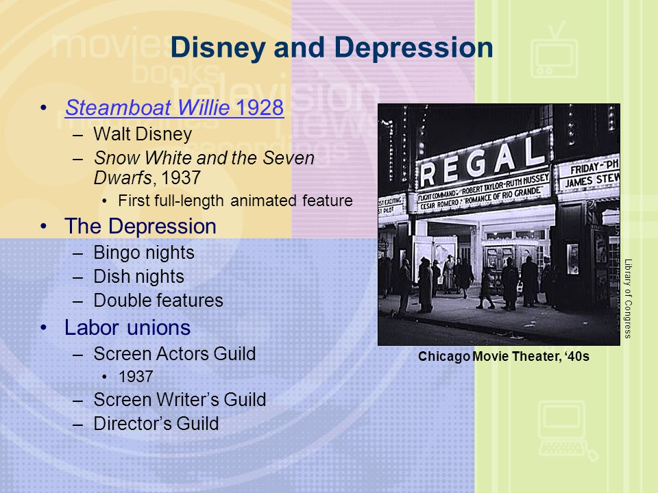 Disney and Depression Steamboat Willie 1928Steamboat Willie 1928 –Walt Disney –Snow White and the Seven Dwarfs, 1937 First full-length animated featur