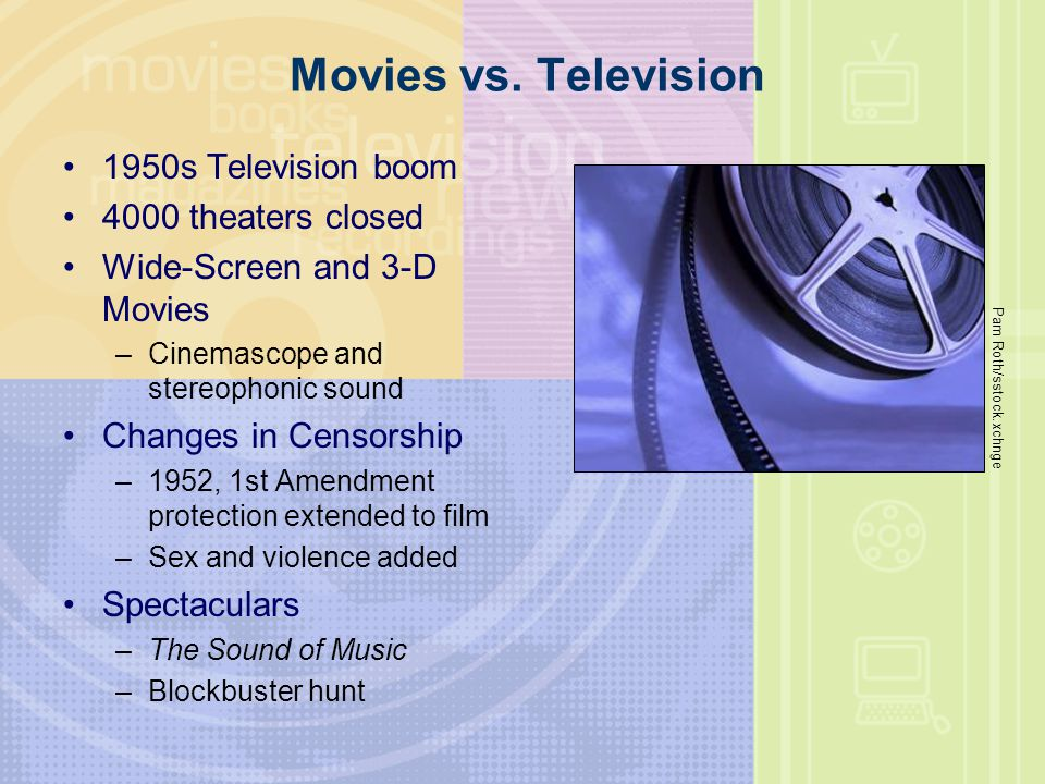 Movies vs. Television 1950s Television boom 4000 theaters closed Wide-Screen and 3-D Movies –Cinemascope and stereophonic sound Changes in Censorship