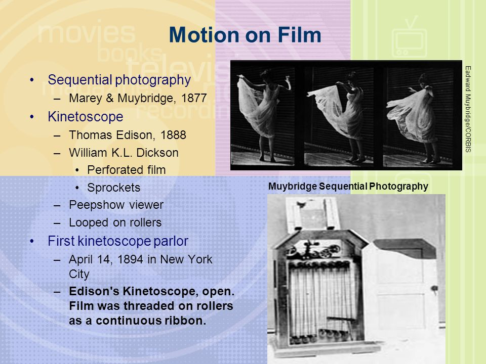 Motion on Film Sequential photography –Marey & Muybridge, 1877 Kinetoscope –Thomas Edison, 1888 –William K.L. Dickson Perforated film Sprockets –Peeps
