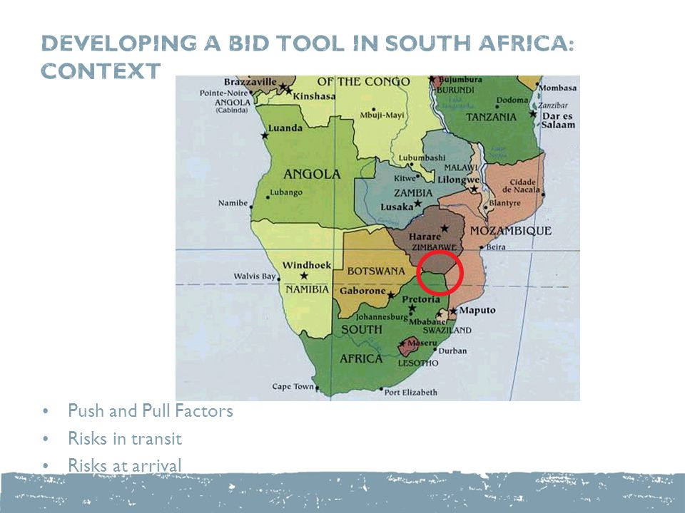 DEVELOPING a bid tool in south Africa: context Push and Pull Factors Risks in transit Risks at arrival