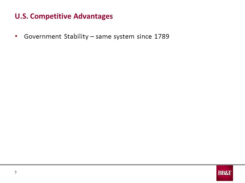 U.S. Competitive Advantages Government Stability – same system since 1789 5