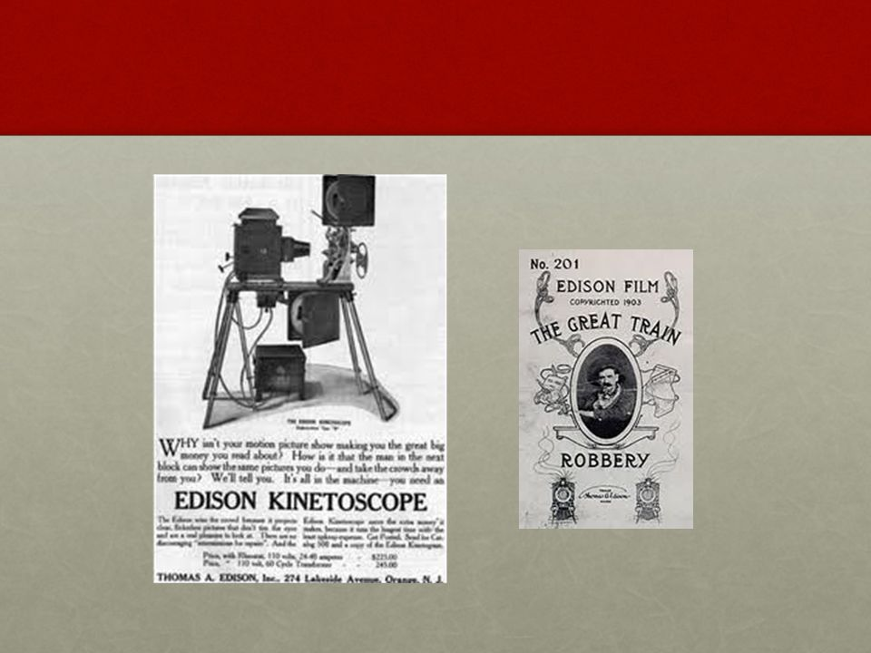 Edison expands Edison produced and showed his own moviesEdison produced and showed his own movies 1908 Edison merges with Biograph films1908 Edison merges with Biograph films Motion Picture Patents Company-CreatedMotion Picture Patents Company-Created Better film and projectorsBetter film and projectors The future of filmsThe future of films AudienceAudience technologytechnology