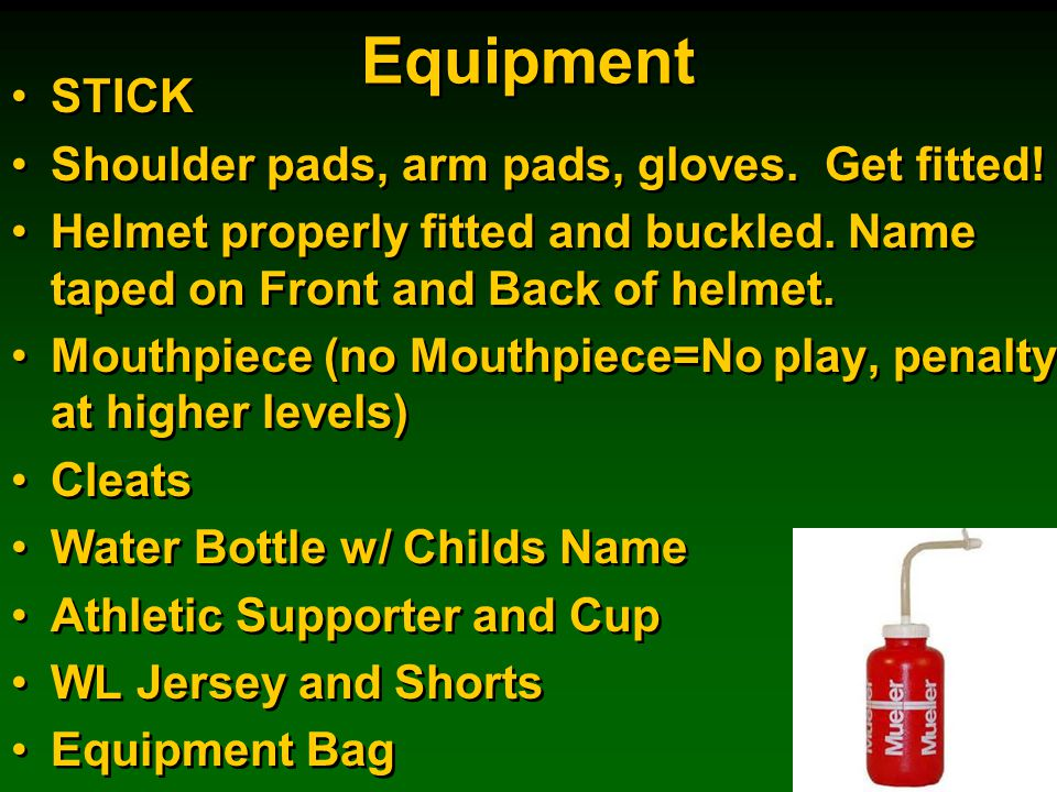 Equipment STICK Shoulder pads, arm pads, gloves. Get fitted.