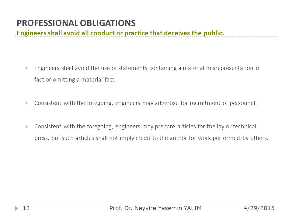 PROFESSIONAL OBLIGATIONS Engineers shall avoid all conduct or practice that deceives the public.  Engineers shall avoid the use of statements contain