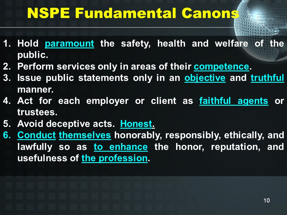 10 NSPE Fundamental Canons 1.Hold paramount the safety, health and welfare of the public.