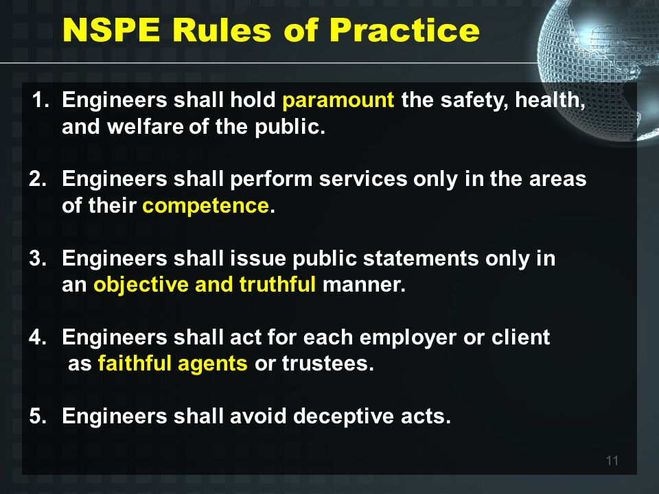 11 NSPE Rules of Practice 1.Engineers shall hold paramount the safety, health, and welfare of the public.