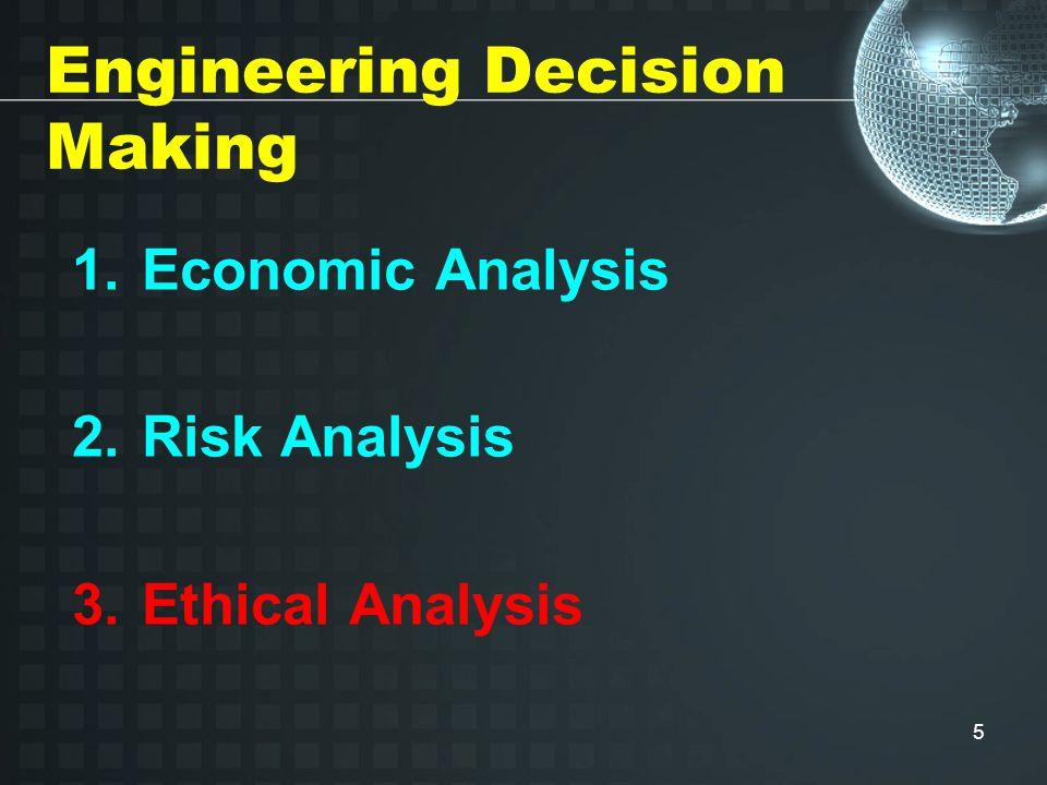 5 Engineering Decision Making 1.Economic Analysis 2.Risk Analysis 3.Ethical Analysis