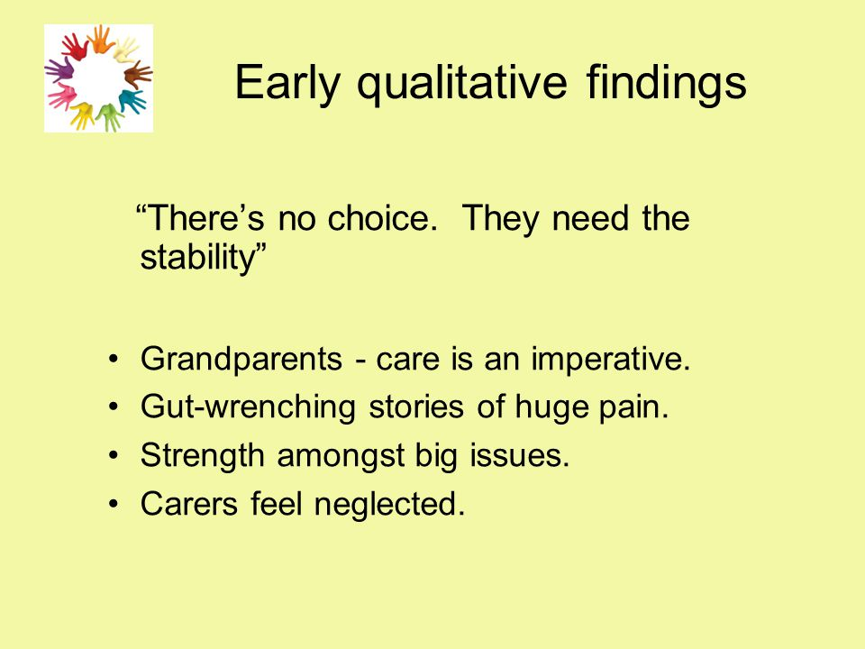"""Early qualitative findings """"There's no choice. They need the stability"""" Grandparents - care is an imperative. Gut-wrenching stories of huge pain. Stre"""