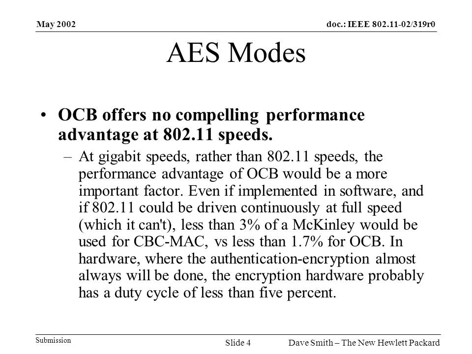 May 2002 Dave Smith – The New Hewlett PackardSlide 4 doc.: IEEE 802.11-02/319r0 Submission AES Modes OCB offers no compelling performance advantage at