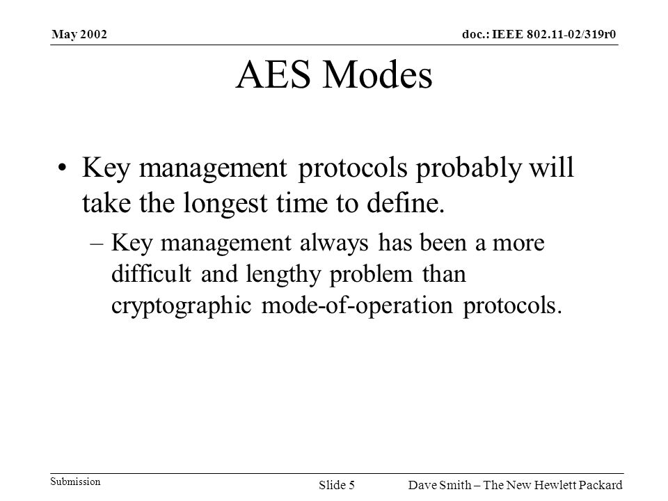 May 2002 Dave Smith – The New Hewlett PackardSlide 5 doc.: IEEE 802.11-02/319r0 Submission AES Modes Key management protocols probably will take the longest time to define.