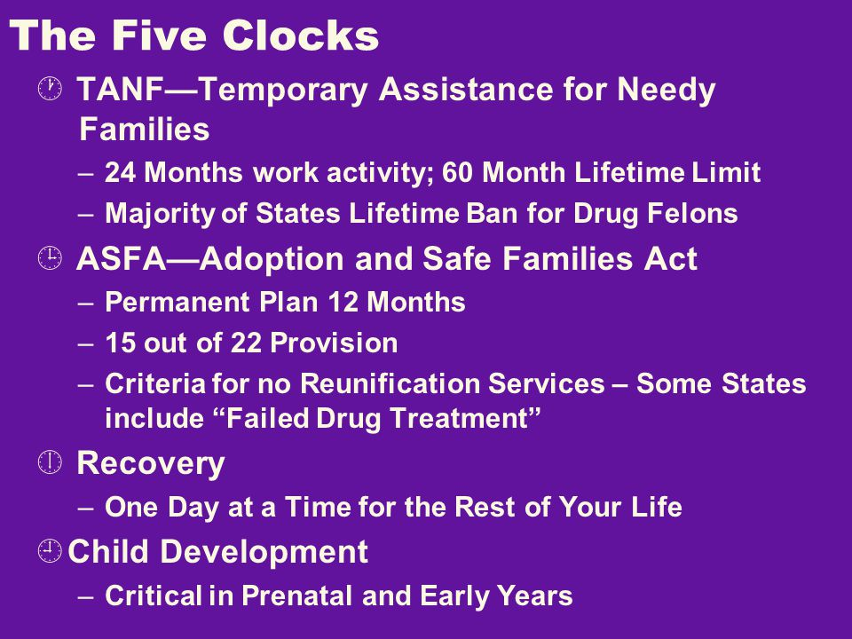 The Five Clocks  TANF—Temporary Assistance for Needy Families –24 Months work activity; 60 Month Lifetime Limit –Majority of States Lifetime Ban for Drug Felons  ASFA—Adoption and Safe Families Act –Permanent Plan 12 Months –15 out of 22 Provision –Criteria for no Reunification Services – Some States include Failed Drug Treatment  Recovery –One Day at a Time for the Rest of Your Life  Child Development –Critical in Prenatal and Early Years