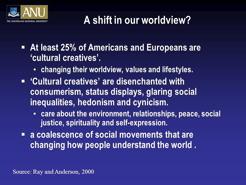 A shift in our worldview.  At least 25% of Americans and Europeans are 'cultural creatives'.