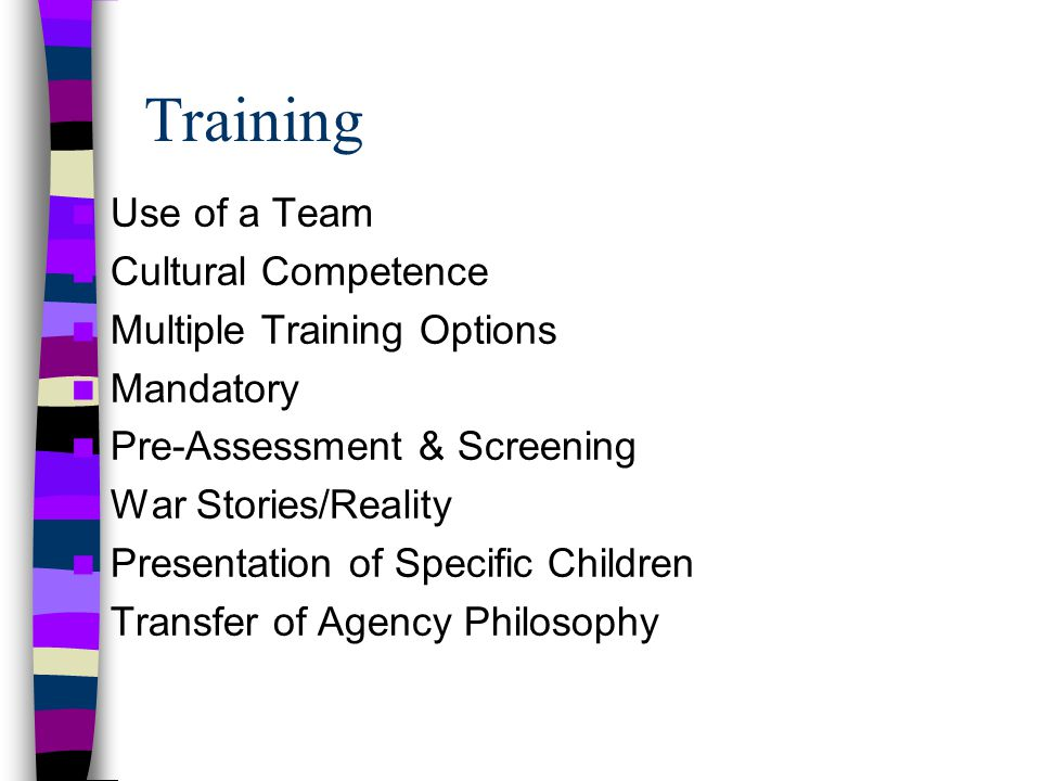 Training Use of a Team Cultural Competence Multiple Training Options Mandatory Pre-Assessment & Screening War Stories/Reality Presentation of Specific Children Transfer of Agency Philosophy