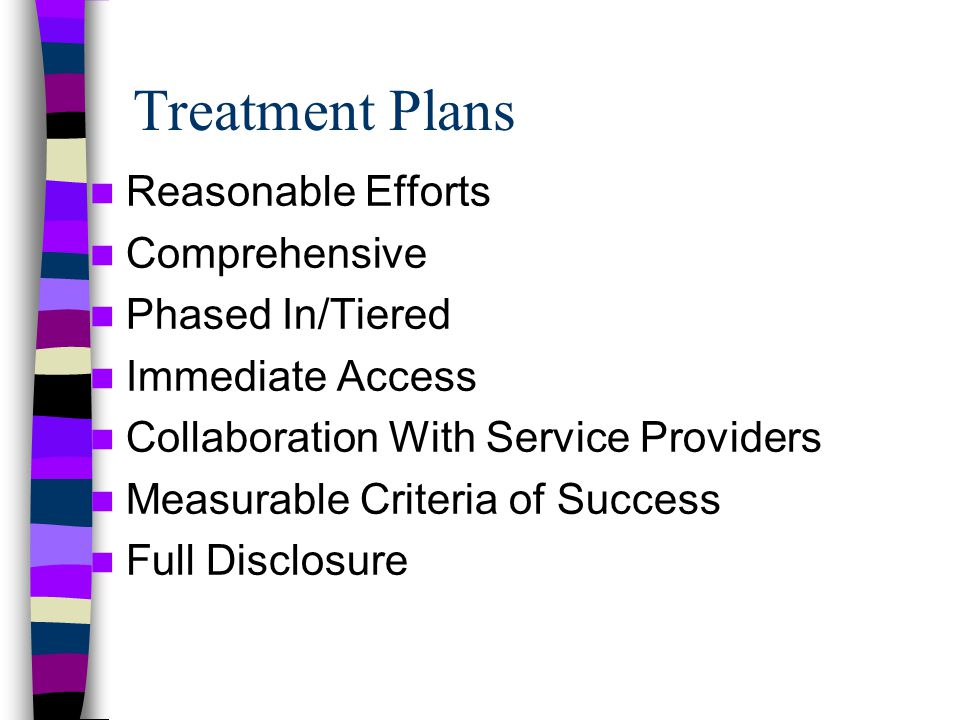 Treatment Plans Reasonable Efforts Comprehensive Phased In/Tiered Immediate Access Collaboration With Service Providers Measurable Criteria of Success Full Disclosure