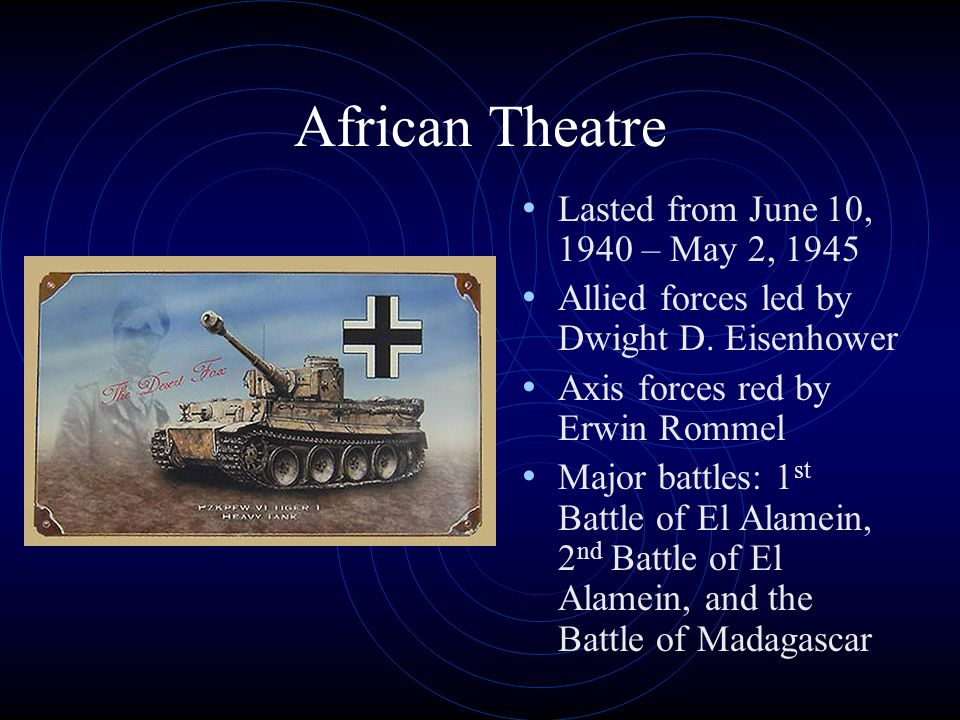 African Theatre Lasted from June 10, 1940 – May 2, 1945 Allied forces led by Dwight D.