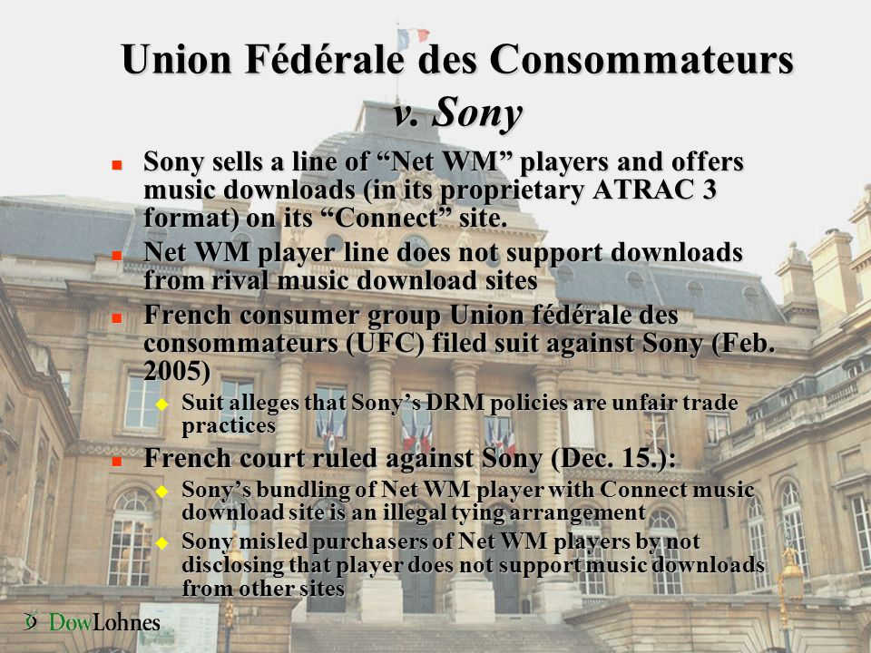 """Union Fédérale des Consommateurs v. Sony n Sony sells a line of """"Net WM"""" players and offers music downloads (in its proprietary ATRAC 3 format) on its"""