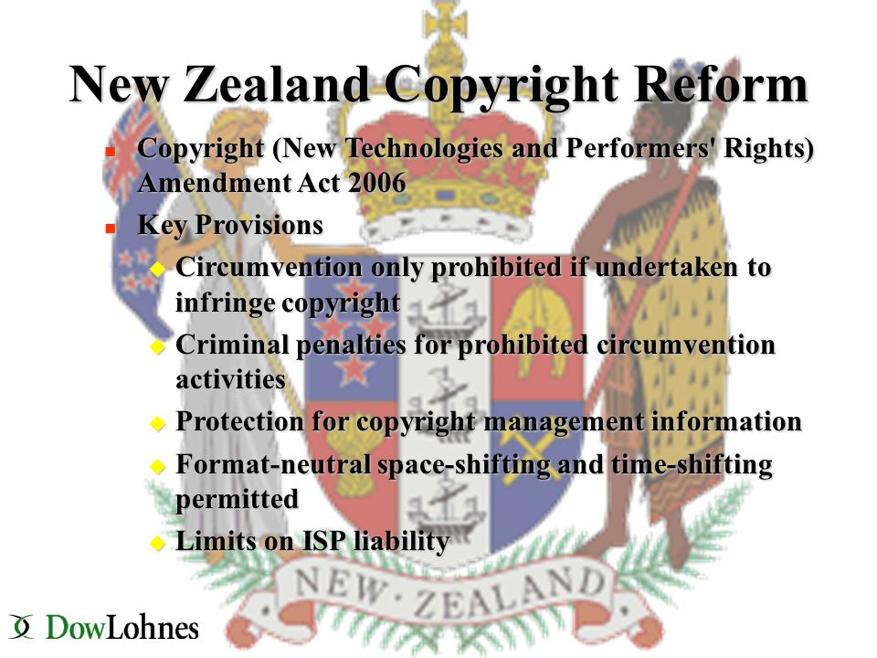 New Zealand Copyright Reform n Copyright (New Technologies and Performers Rights) Amendment Act 2006 n Key Provisions u Circumvention only prohibited if undertaken to infringe copyright u Criminal penalties for prohibited circumvention activities u Protection for copyright management information u Format-neutral space-shifting and time-shifting permitted u Limits on ISP liability