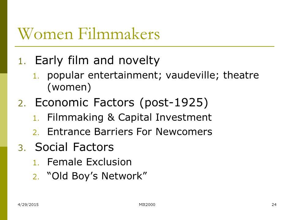 4/29/2015MIt200024 Women Filmmakers 1. Early film and novelty 1. popular entertainment; vaudeville; theatre (women) 2. Economic Factors (post-1925) 1.