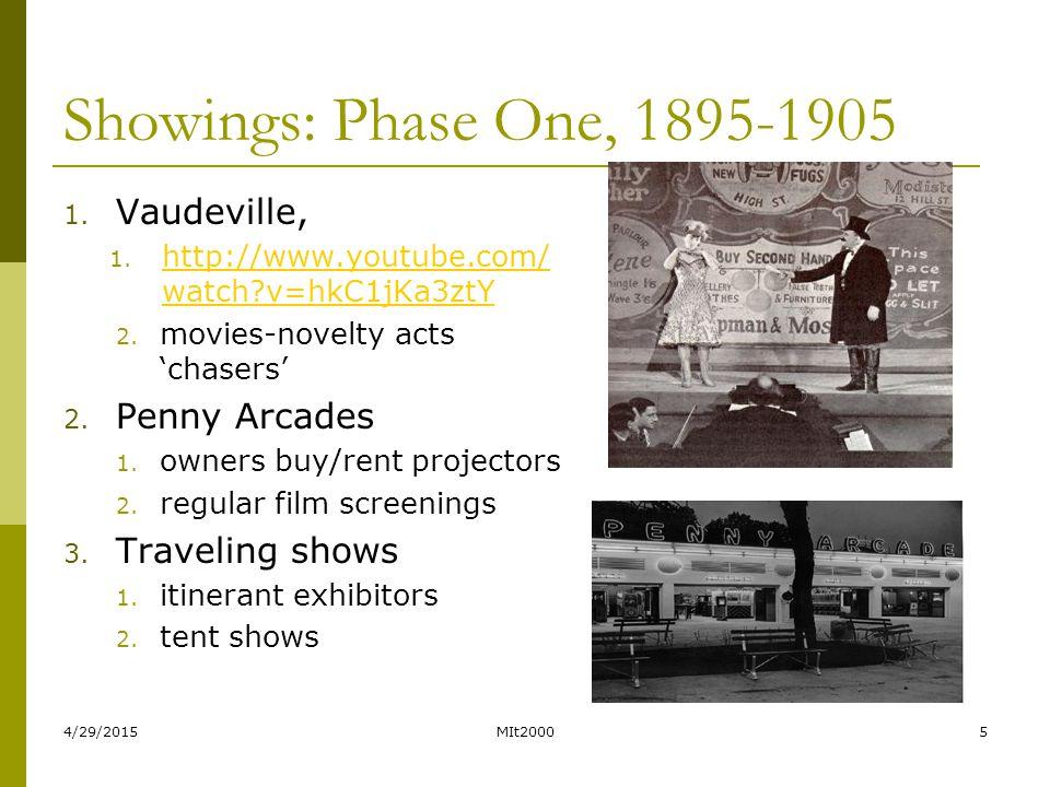 4/29/2015MIt20005 Showings: Phase One, 1895-1905 1. Vaudeville, 1. http://www.youtube.com/ watch?v=hkC1jKa3ztY http://www.youtube.com/ watch?v=hkC1jKa