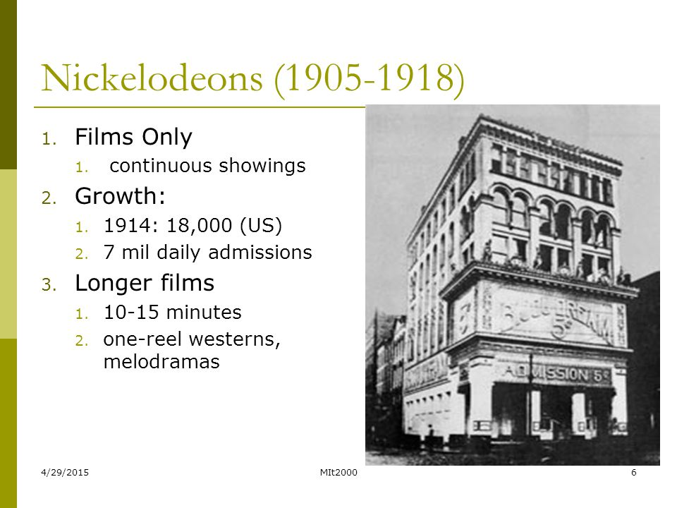 4/29/2015MIt20006 Nickelodeons (1905-1918) 1. Films Only 1. continuous showings 2. Growth: 1. 1914: 18,000 (US) 2. 7 mil daily admissions 3. Longer fi