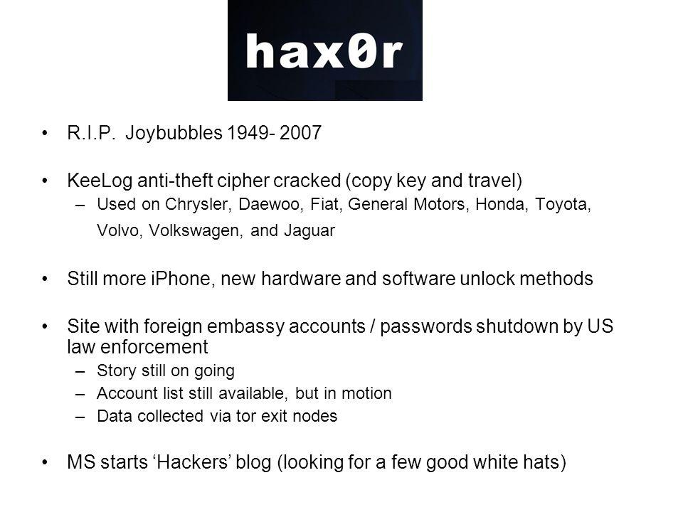 Hacking R.I.P. Joybubbles 1949- 2007 KeeLog anti-theft cipher cracked (copy key and travel) –Used on Chrysler, Daewoo, Fiat, General Motors, Honda, To
