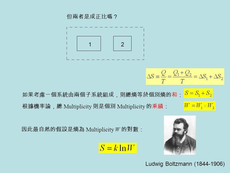 如果考慮一個系統由兩個子系統組成,則總熵等於個別熵的和: 根據機率論,總 Multiplicity 則是個別 Multiplicity 的乘績: 因此最自然的假設是熵為 Multiplicity W 的對數: 12 Ludwig Boltzmann (1844-1906) 但兩者是成正比嗎?