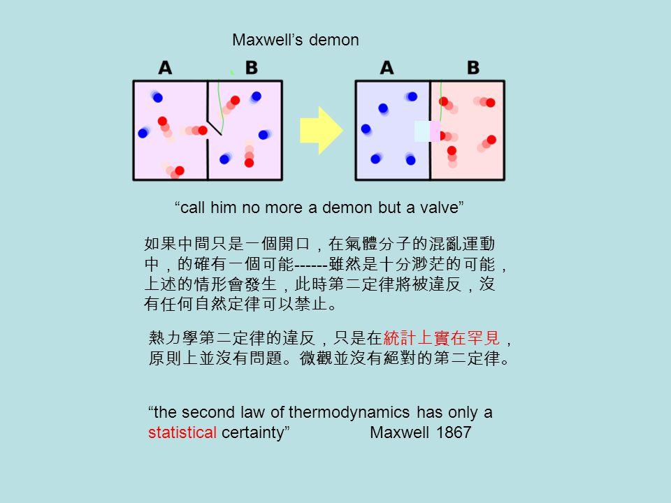 "Maxwell's demon ""call him no more a demon but a valve"" 如果中間只是一個開口,在氣體分子的混亂運動 中,的確有一個可能 ------ 雖然是十分渺茫的可能, 上述的情形會發生,此時第二定律將被違反,沒 有任何自然定律可以禁止。 熱力學第二定律的違"
