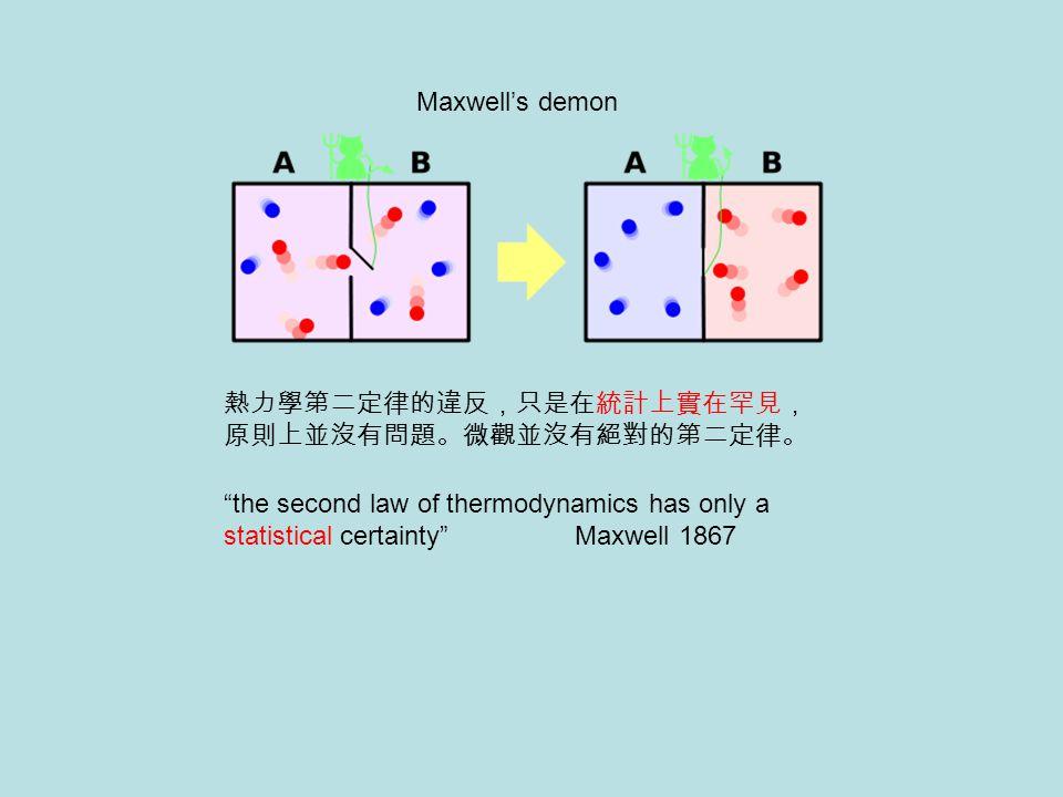 "Maxwell's demon 熱力學第二定律的違反,只是在統計上實在罕見, 原則上並沒有問題。微觀並沒有絕對的第二定律。 ""the second law of thermodynamics has only a statistical certainty"" Maxwell 1867"