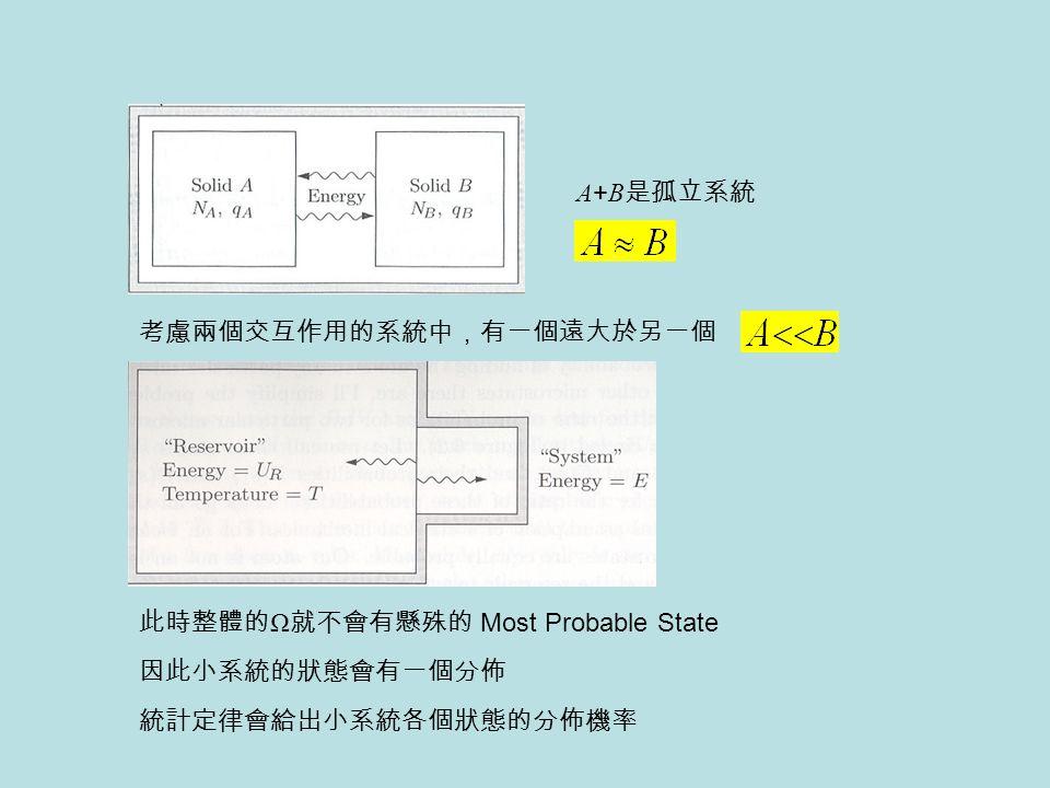 考慮兩個交互作用的系統中,有一個遠大於另一個 A + B 是孤立系統 此時整體的 Ω 就不會有懸殊的 Most Probable State 統計定律會給出小系統各個狀態的分佈機率 因此小系統的狀態會有一個分佈