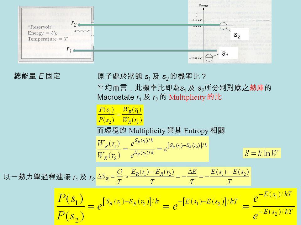 總能量 E 固定 原子處於狀態 s 1 及 s 2 的機率比? 平均而言,此機率比即為 s 1 及 s 2 所分別對應之熱庫的 Macrostate r 1 及 r 2 的 Multiplicity 的比 而環境的 Multiplicity 與其 Entropy 相關 以一熱力學過程連接 r 1 及