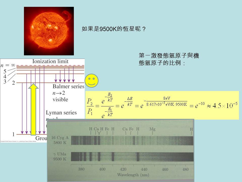 如果是 9500K 的恆星呢? 第一激發態氫原子與機 態氫原子的比例: