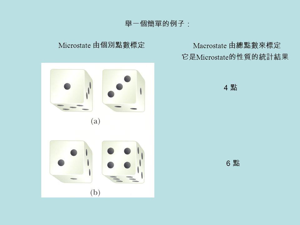 4 點 6 點 Microstate 由個別點數標定 Macrostate 由總點數來標定 舉一個簡單的例子: 它是 Microstate 的性質的統計結果