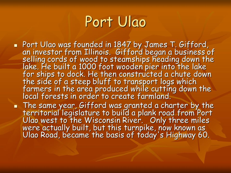 Port Ulao Port Ulao was founded in 1847 by James T.