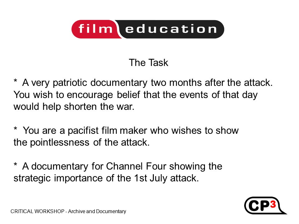CRITICAL WORKSHOP - Archive and Documentary Title CRITICAL WORKSHOP - Archive and Documentary Title * A very patriotic documentary two months after the attack.