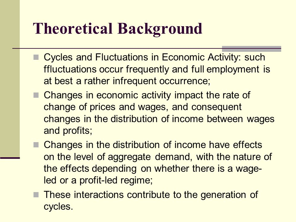 Theoretical Background Cycles and Fluctuations in Economic Activity: such ffluctuations occur frequently and full employment is at best a rather infre