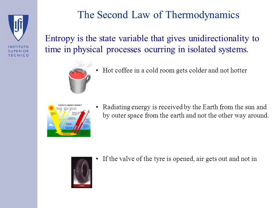 Entropy is the state variable that gives unidirectionality to time in physical processes ocurring in isolated systems. Hot coffee in a cold room gets
