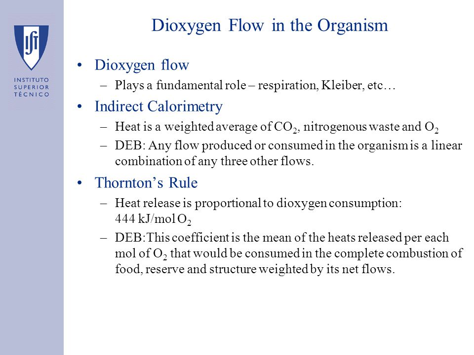 Dioxygen Flow in the Organism Dioxygen flow –Plays a fundamental role – respiration, Kleiber, etc… Indirect Calorimetry –Heat is a weighted average of CO 2, nitrogenous waste and O 2 –DEB: Any flow produced or consumed in the organism is a linear combination of any three other flows.