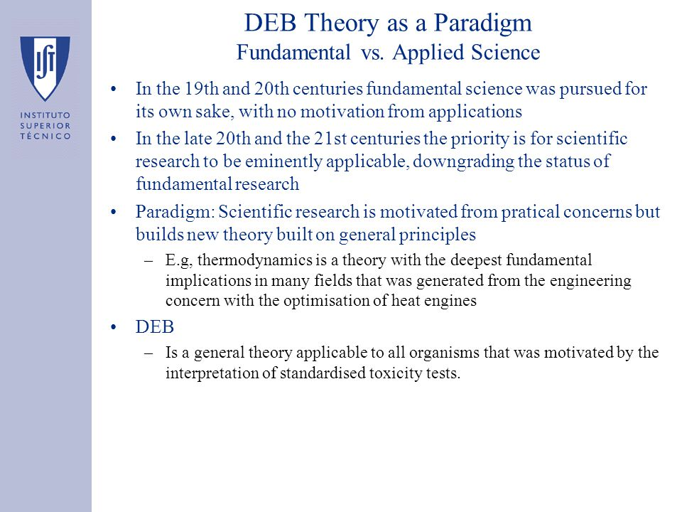 DEB Theory as a Paradigm Fundamental vs.