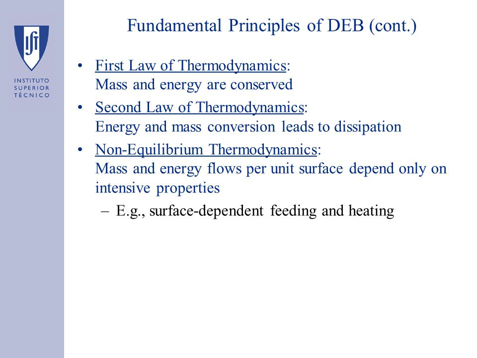Fundamental Principles of DEB (cont.) First Law of Thermodynamics: Mass and energy are conserved Second Law of Thermodynamics: Energy and mass conversion leads to dissipation Non-Equilibrium Thermodynamics: Mass and energy flows per unit surface depend only on intensive properties –E.g., surface-dependent feeding and heating