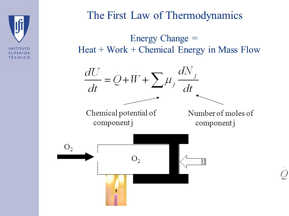 The First Law of Thermodynamics Energy Change = Heat + Work + Chemical Energy in Mass Flow Chemical potential of component j Number of moles of compon